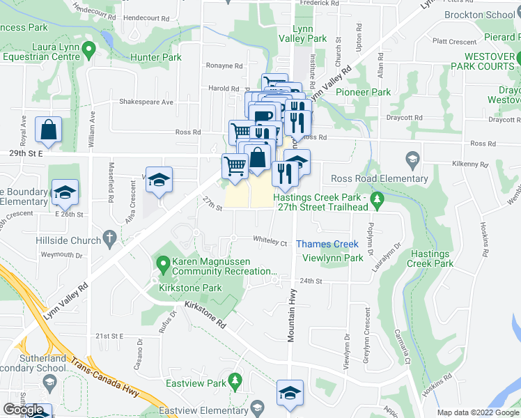 map of restaurants, bars, coffee shops, grocery stores, and more near 27th Street in North Vancouver