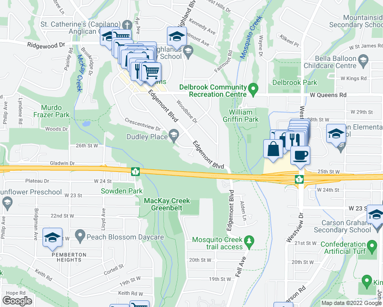 map of restaurants, bars, coffee shops, grocery stores, and more near 2567 Newmarket Drive in North Vancouver