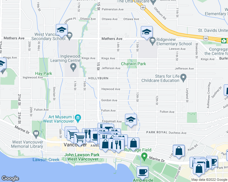map of restaurants, bars, coffee shops, grocery stores, and more near 1418 Haywood Avenue in West Vancouver
