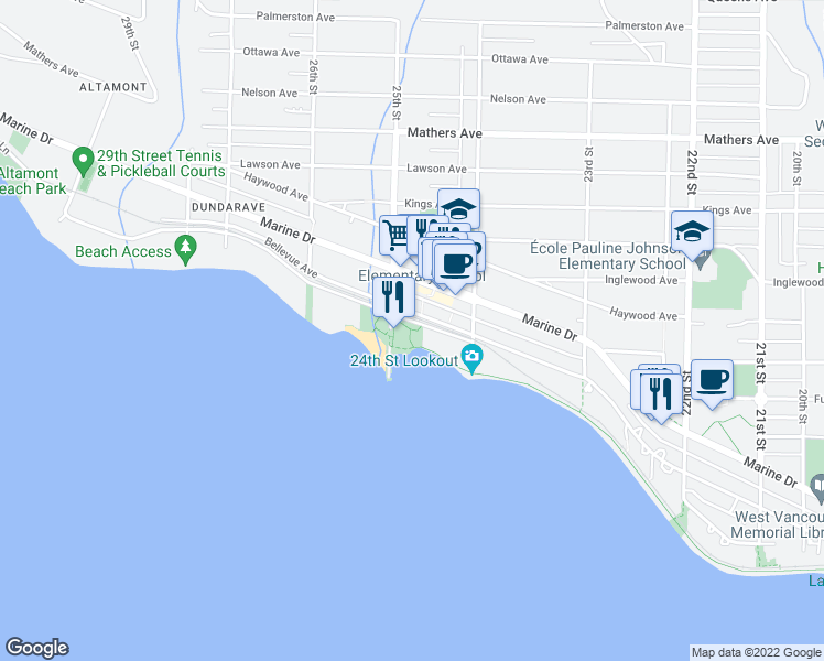 map of restaurants, bars, coffee shops, grocery stores, and more near 2478 Bellevue Avenue in West Vancouver