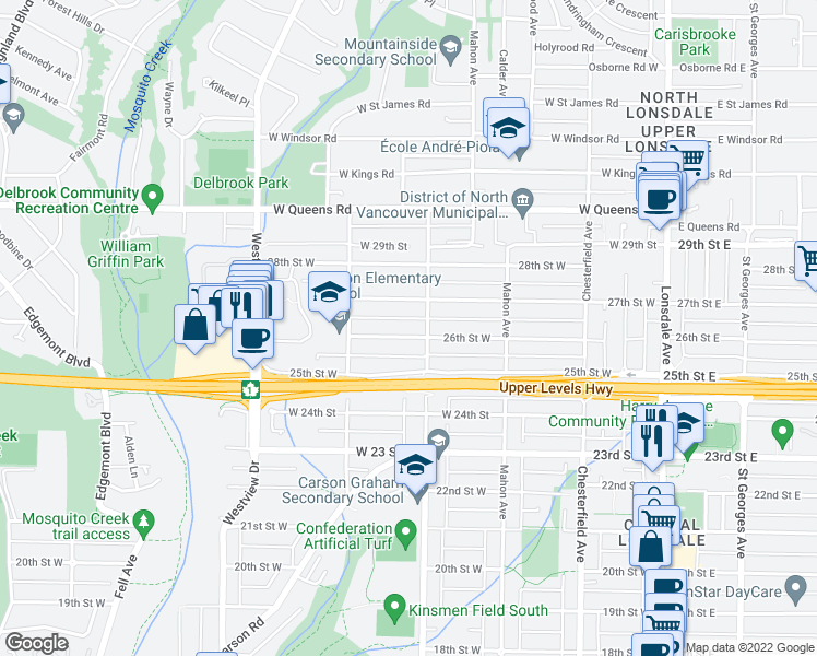 map of restaurants, bars, coffee shops, grocery stores, and more near 414 26th Street West in North Vancouver