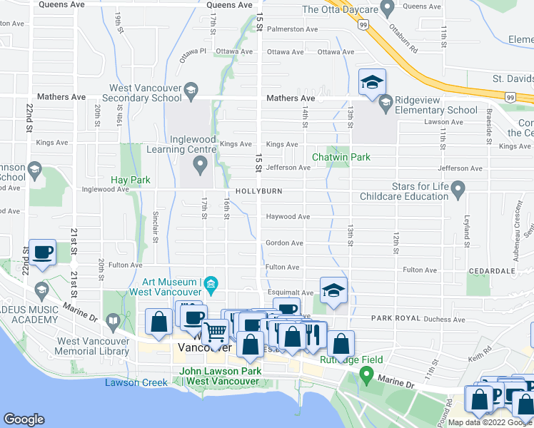 map of restaurants, bars, coffee shops, grocery stores, and more near 1479 Haywood Avenue in West Vancouver