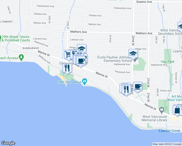 map of restaurants, bars, coffee shops, grocery stores, and more near 2372 Marine Drive in West Vancouver
