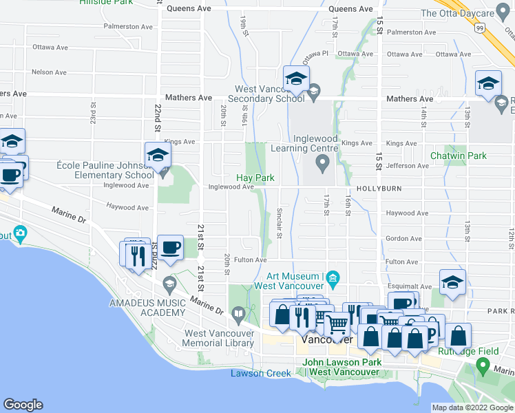 map of restaurants, bars, coffee shops, grocery stores, and more near 990 Sherwood Lane in West Vancouver