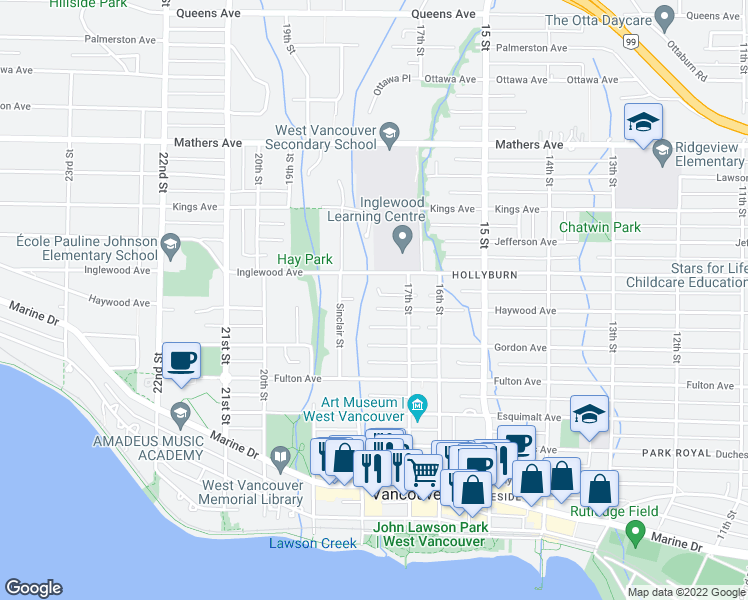map of restaurants, bars, coffee shops, grocery stores, and more near 1775 Haywood Avenue in West Vancouver