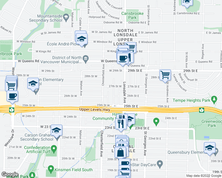 map of restaurants, bars, coffee shops, grocery stores, and more near 2645 Western Avenue in North Vancouver