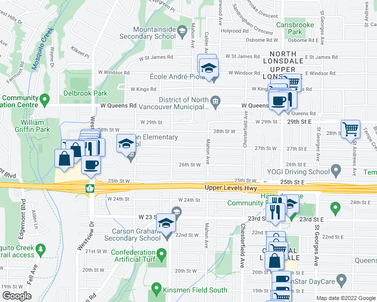 map of restaurants, bars, coffee shops, grocery stores, and more near 335 27th Street West in North Vancouver