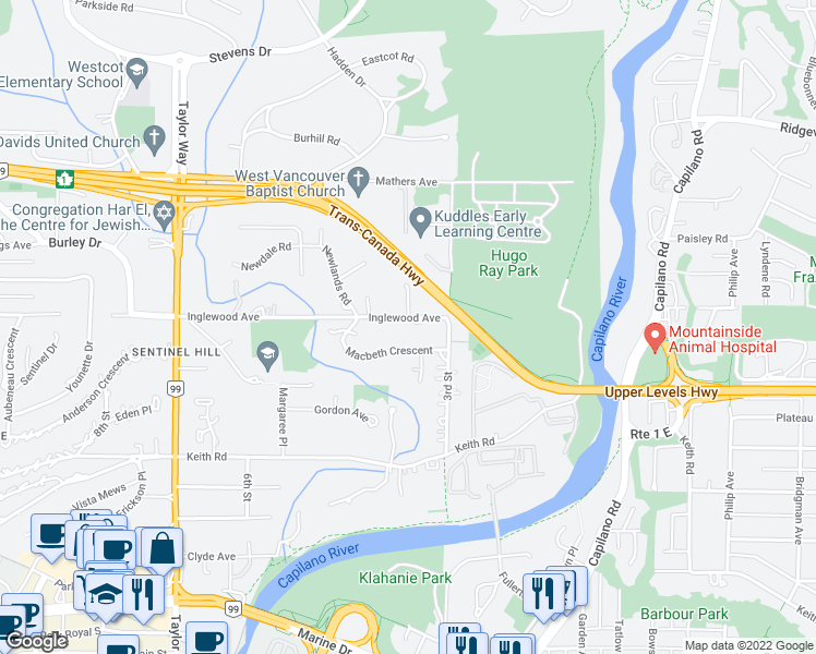 map of restaurants, bars, coffee shops, grocery stores, and more near 370 Inglewood Avenue in West Vancouver