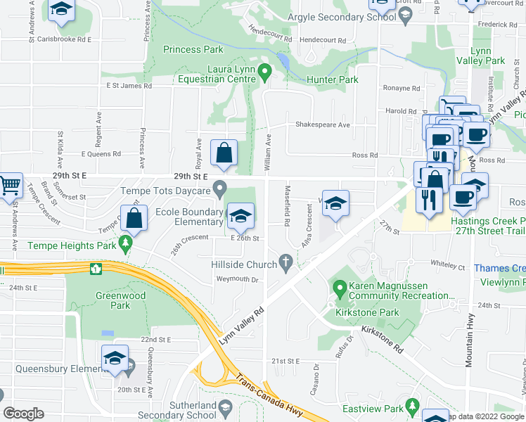 map of restaurants, bars, coffee shops, grocery stores, and more near 2751 William Avenue in North Vancouver