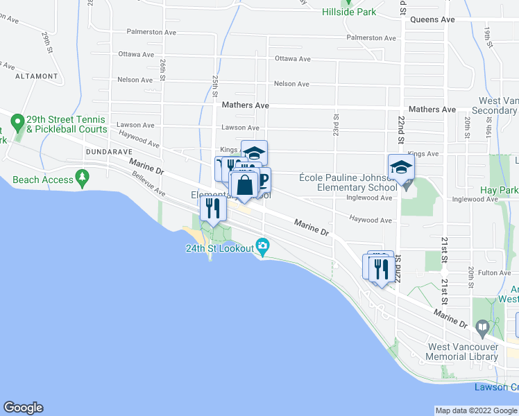 map of restaurants, bars, coffee shops, grocery stores, and more near 2408 Marine Drive in West Vancouver
