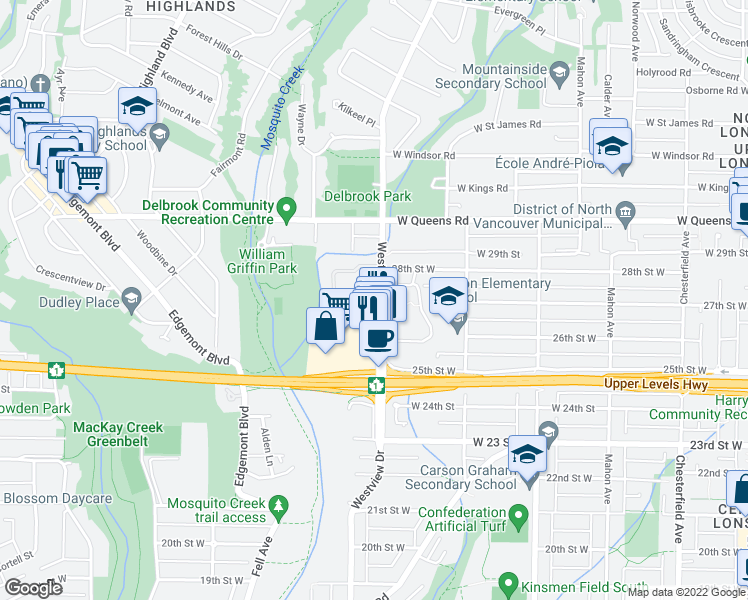 map of restaurants, bars, coffee shops, grocery stores, and more near 605 Westview Place in North Vancouver