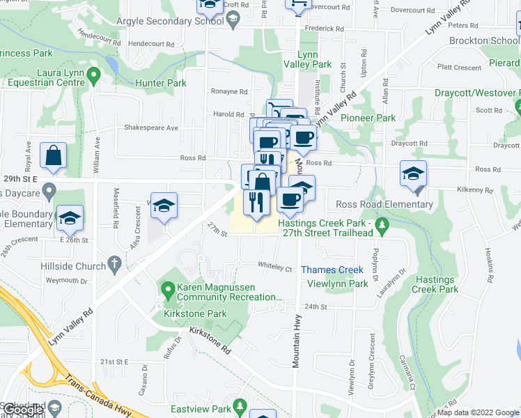 map of restaurants, bars, coffee shops, grocery stores, and more near 1200 Lynn Valley Road in North Vancouver