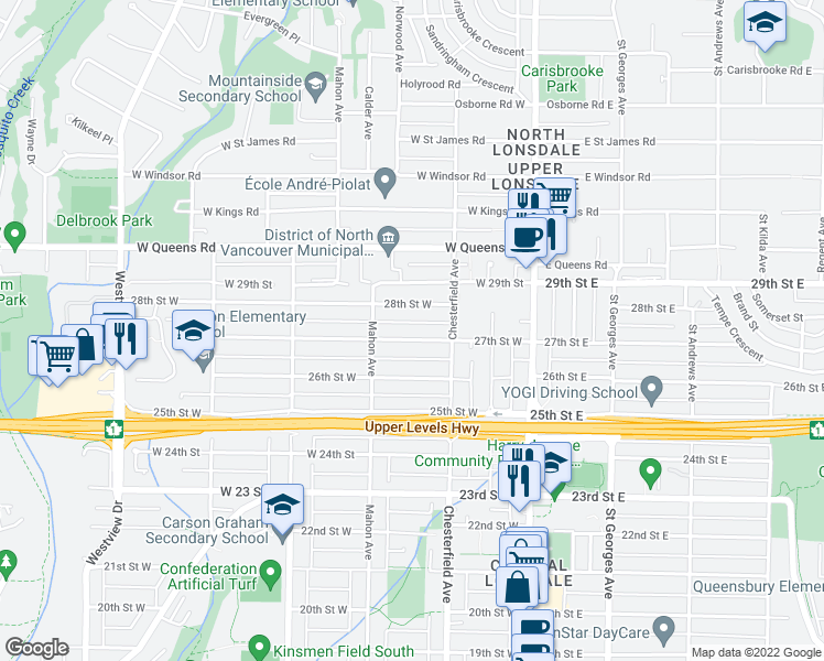 map of restaurants, bars, coffee shops, grocery stores, and more near 236 27th Street West in North Vancouver