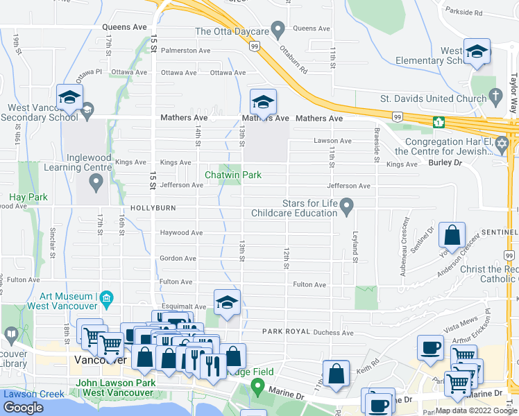 map of restaurants, bars, coffee shops, grocery stores, and more near Inglewood Avenue in West Vancouver
