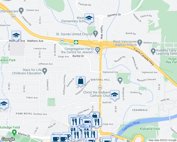 map of restaurants, bars, coffee shops, grocery stores, and more near 700 Burley Drive in West Vancouver