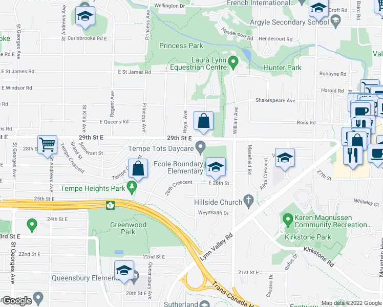 map of restaurants, bars, coffee shops, grocery stores, and more near 2886 Munday Place in North Vancouver