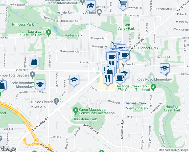 map of restaurants, bars, coffee shops, grocery stores, and more near 1150 Lynn Valley Road in North Vancouver