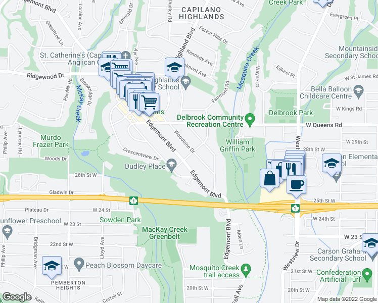 map of restaurants, bars, coffee shops, grocery stores, and more near 2801 Woodbine Drive in North Vancouver