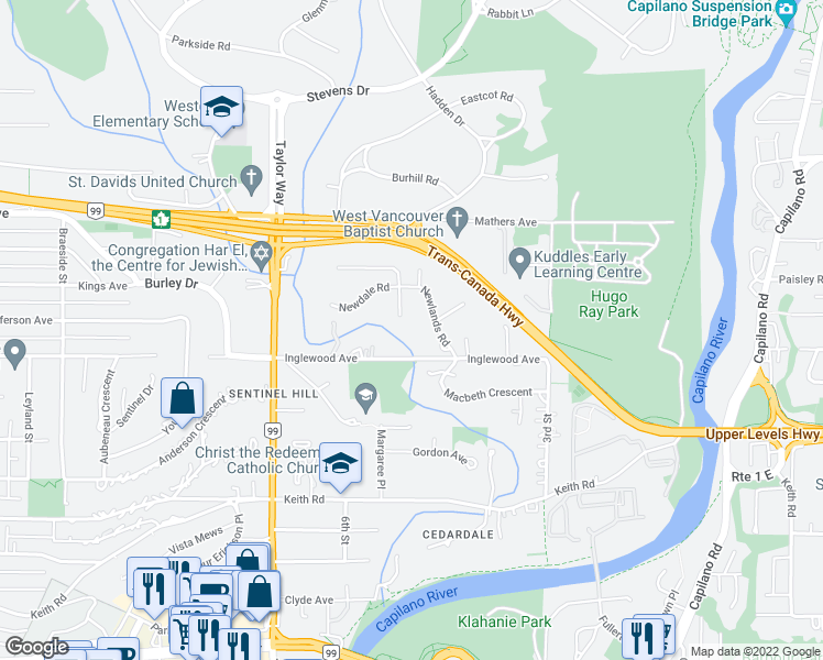map of restaurants, bars, coffee shops, grocery stores, and more near 522 Newdale Place in West Vancouver