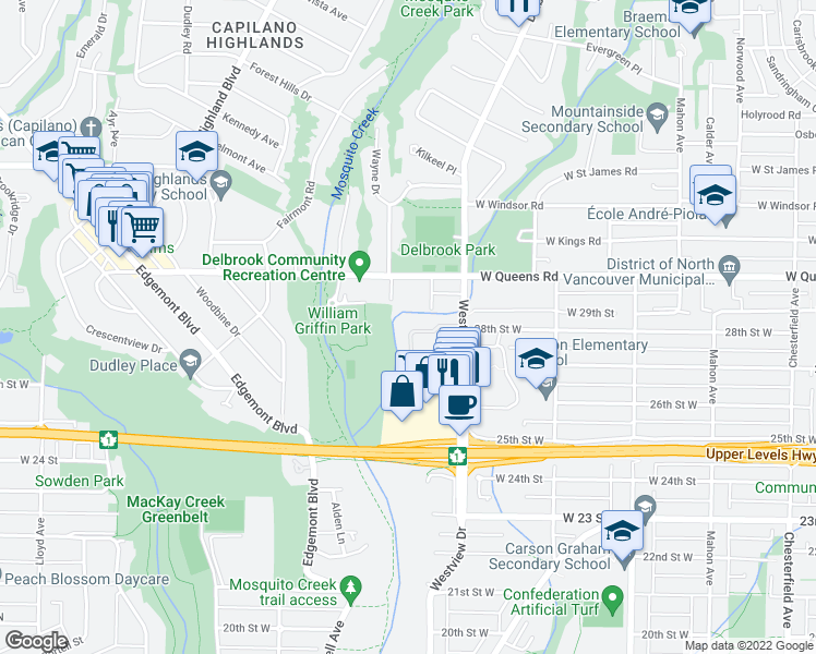 map of restaurants, bars, coffee shops, grocery stores, and more near 867 Westview Crescent in North Vancouver
