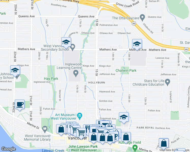 map of restaurants, bars, coffee shops, grocery stores, and more near 1510 Jefferson Avenue in West Vancouver