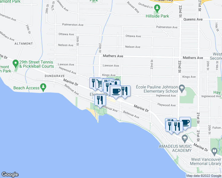 map of restaurants, bars, coffee shops, grocery stores, and more near 2420 Haywood Avenue in West Vancouver