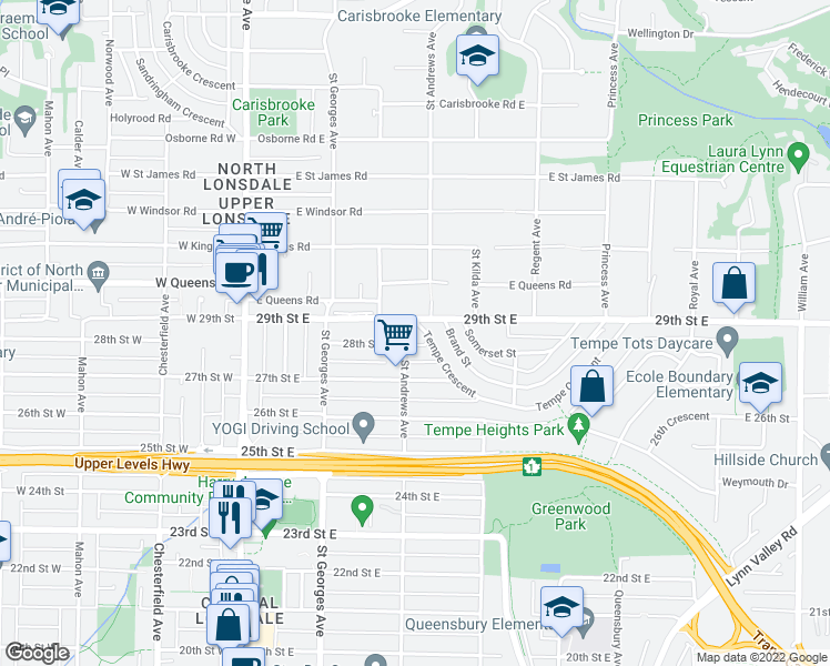 map of restaurants, bars, coffee shops, grocery stores, and more near 309 Tempe Crescent in North Vancouver