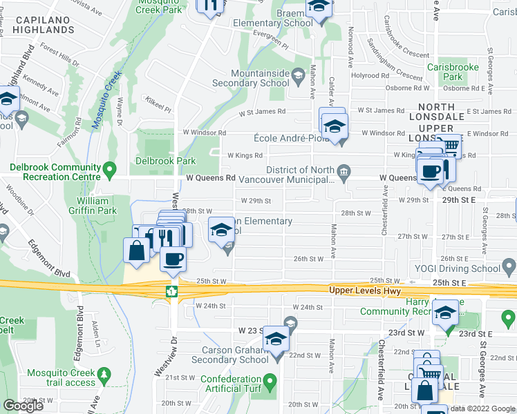 map of restaurants, bars, coffee shops, grocery stores, and more near 425 28th Street West in North Vancouver