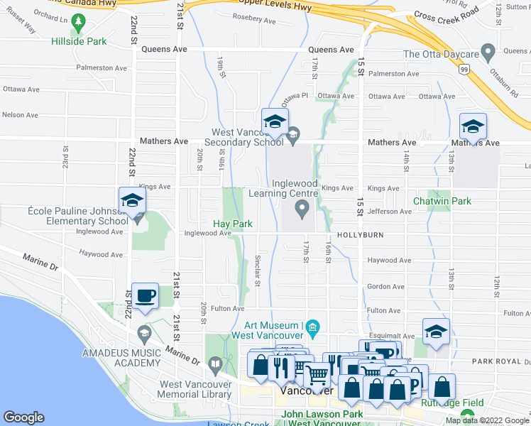 map of restaurants, bars, coffee shops, grocery stores, and more near 1190 Sinclair Street in West Vancouver