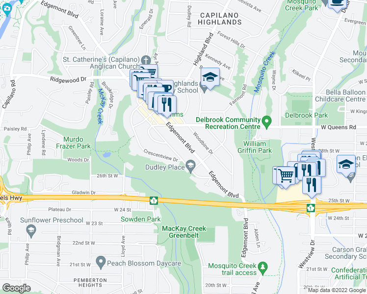 map of restaurants, bars, coffee shops, grocery stores, and more near 2809 Edgemont Boulevard in North Vancouver