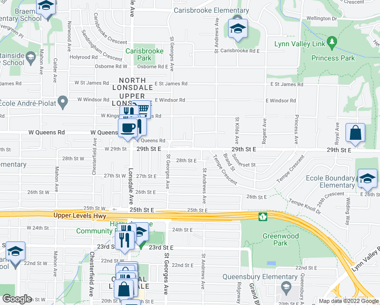 map of restaurants, bars, coffee shops, grocery stores, and more near 231 29th Street East in North Vancouver