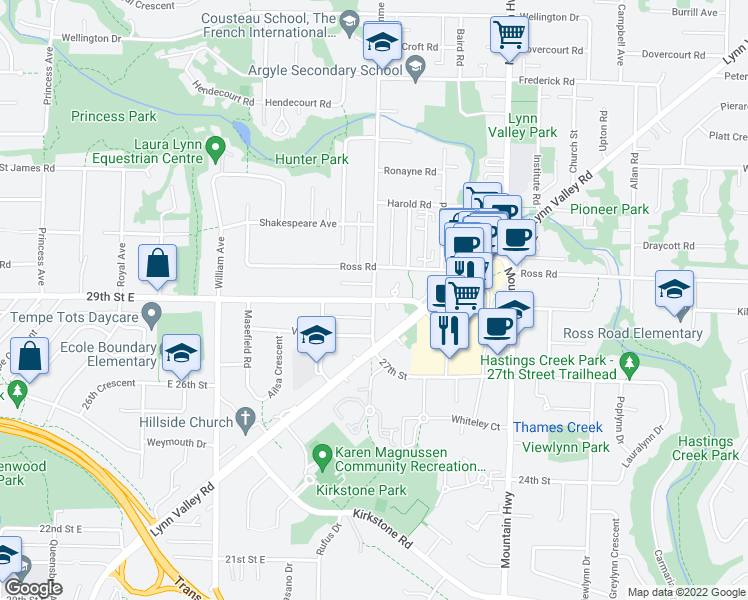 map of restaurants, bars, coffee shops, grocery stores, and more near East 29th Avenue in Vancouver
