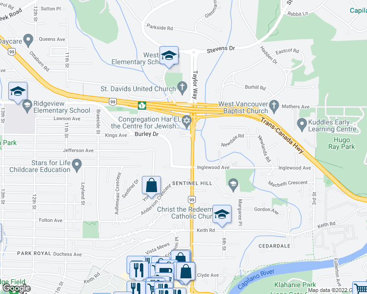 map of restaurants, bars, coffee shops, grocery stores, and more near 725 Inglewood Avenue in West Vancouver