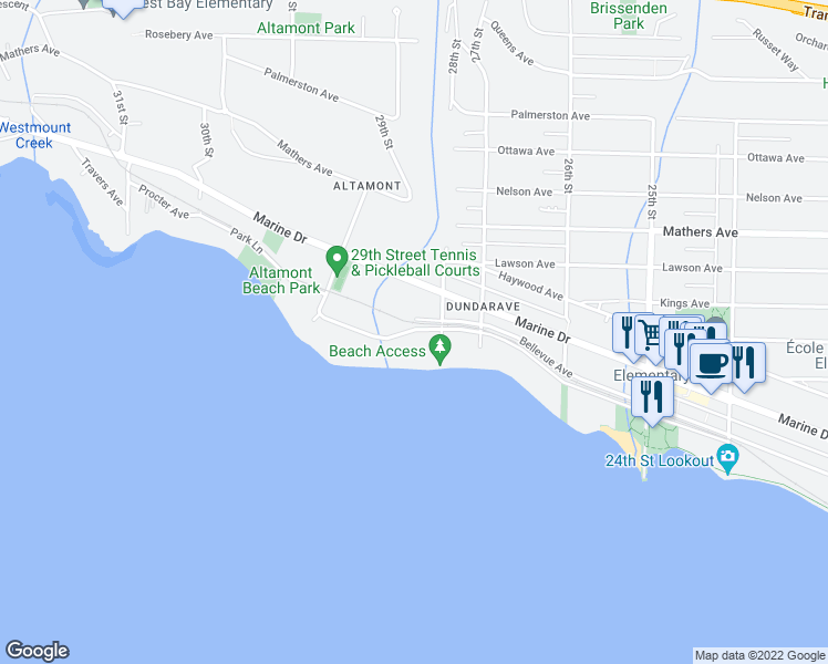 map of restaurants, bars, coffee shops, grocery stores, and more near 2816 Bellevue Avenue in West Vancouver