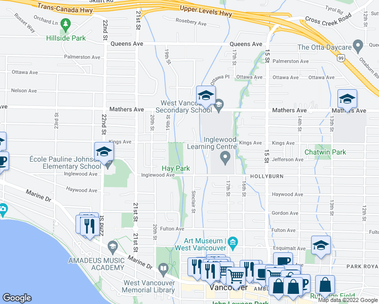 map of restaurants, bars, coffee shops, grocery stores, and more near 1245 Sinclair Street in West Vancouver