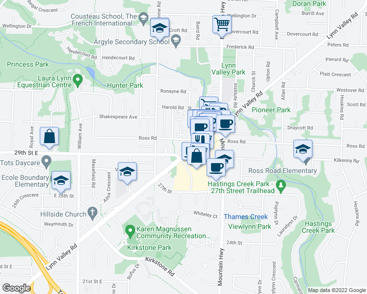 map of restaurants, bars, coffee shops, grocery stores, and more near 1155 Ross Road in North Vancouver