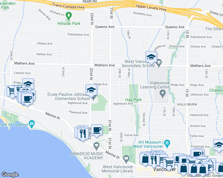 map of restaurants, bars, coffee shops, grocery stores, and more near 1252 21st Street in West Vancouver