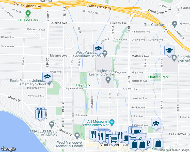 map of restaurants, bars, coffee shops, grocery stores, and more near 1250 Sinclair Street in West Vancouver