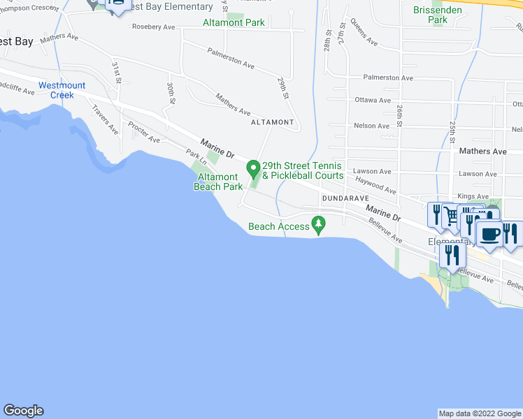 map of restaurants, bars, coffee shops, grocery stores, and more near 2877 Bellevue Avenue in West Vancouver