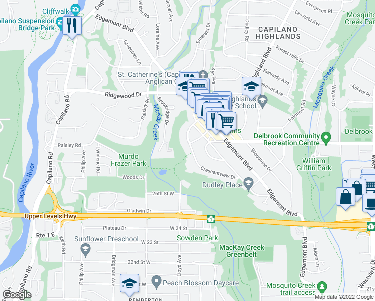 map of restaurants, bars, coffee shops, grocery stores, and more near 2905 Crescentview Drive in North Vancouver
