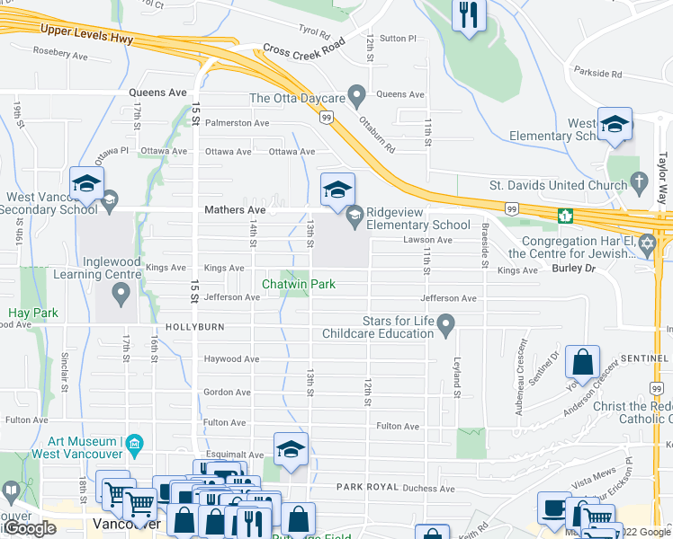 map of restaurants, bars, coffee shops, grocery stores, and more near 1260 Kings Avenue in West Vancouver