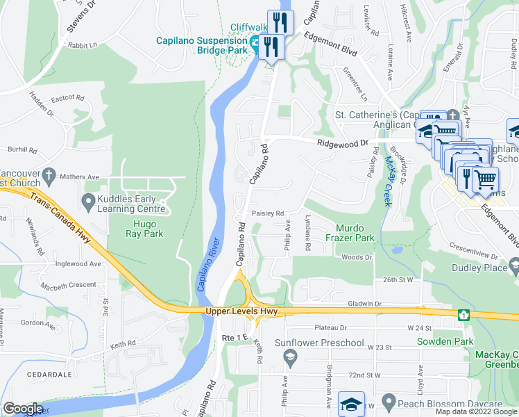 map of restaurants, bars, coffee shops, grocery stores, and more near 1500 Paisley Road in North Vancouver