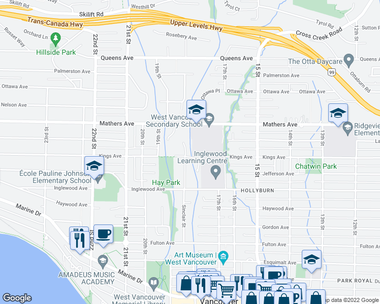 map of restaurants, bars, coffee shops, grocery stores, and more near 1320 Sinclair Street in West Vancouver