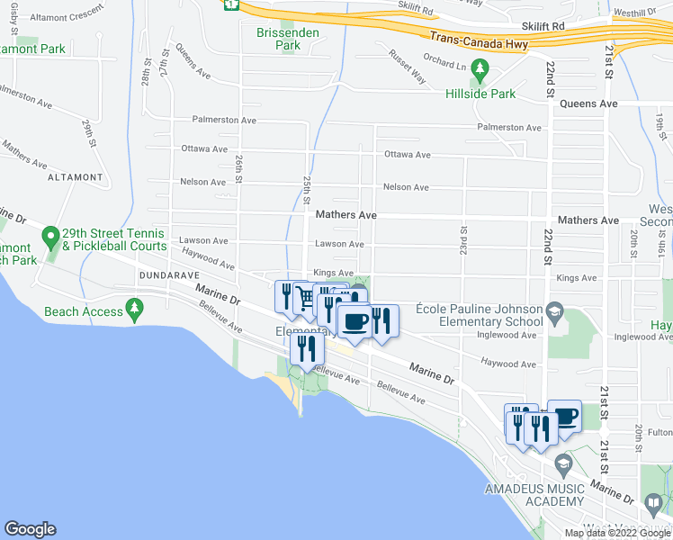 map of restaurants, bars, coffee shops, grocery stores, and more near 2449 Kings Avenue in West Vancouver