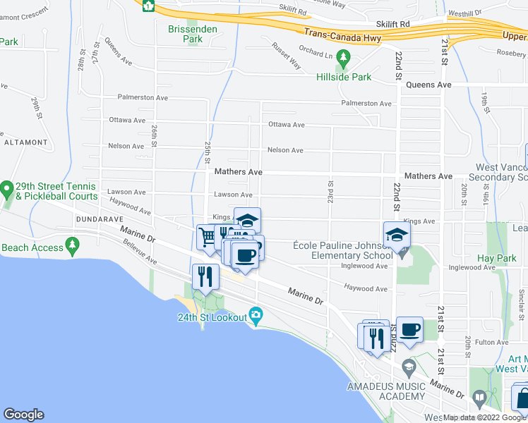 map of restaurants, bars, coffee shops, grocery stores, and more near 2397 Kings Avenue in West Vancouver