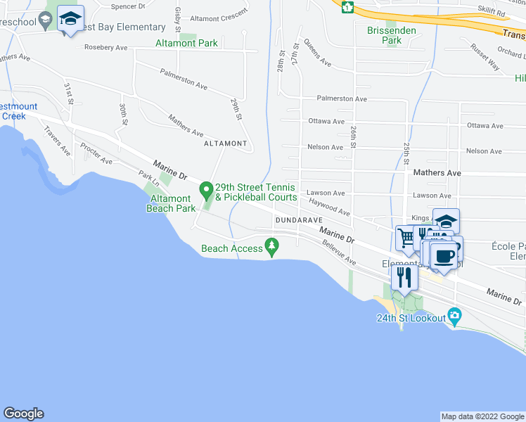 map of restaurants, bars, coffee shops, grocery stores, and more near 2818 Marine Drive in West Vancouver
