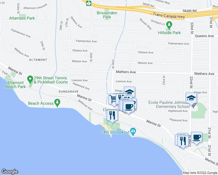 map of restaurants, bars, coffee shops, grocery stores, and more near 2513 Kings Avenue in West Vancouver