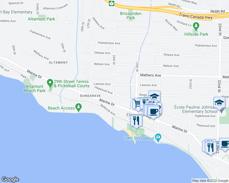 map of restaurants, bars, coffee shops, grocery stores, and more near 2597 Haywood Avenue in West Vancouver