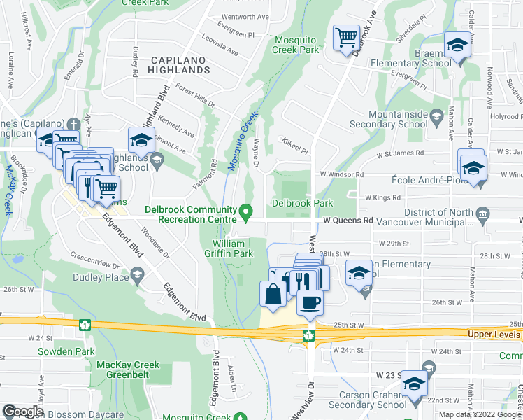 map of restaurants, bars, coffee shops, grocery stores, and more near 3039 Bewicke Avenue in North Vancouver