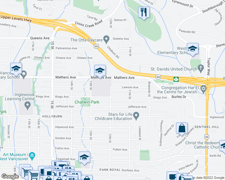 map of restaurants, bars, coffee shops, grocery stores, and more near 1196 Lawson Avenue in West Vancouver